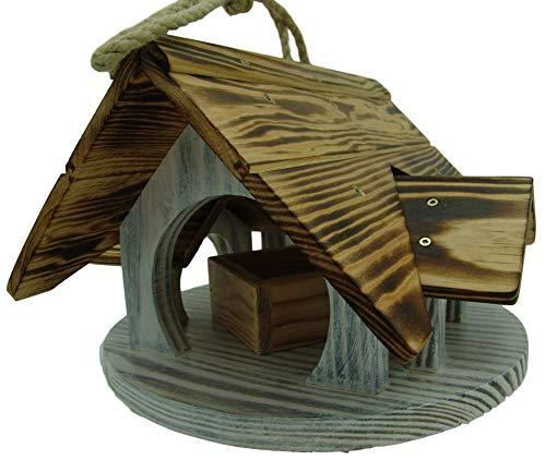 Vogelhaus, Vogelvilla, Futterstation, für bunte Gärten, zum Aufhängen (keine Chance für Katzen), aus robustem Duglasien und Pinienholz, mit unbehandelter Futterschale aus...