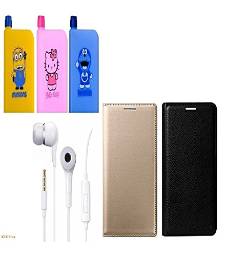 KTC Plus (4 in 1-Combo Offer )Multicolor Printed Notebook Shape Water Bottle (380ml) & full Golden and Black Leather Flip Cover With Handsfree(ear phone) For Xiaomi Redmi Note 3 (Mi Note 3)
