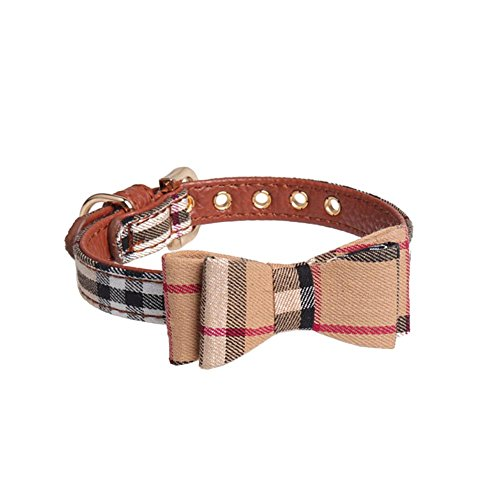 Halsband mit Fliege für Haustier Dog Bow Tie für Hund und Katze Britischer Stil Einstellbarem Sub PU Kragen Haustier Schal Stil Bow Tie