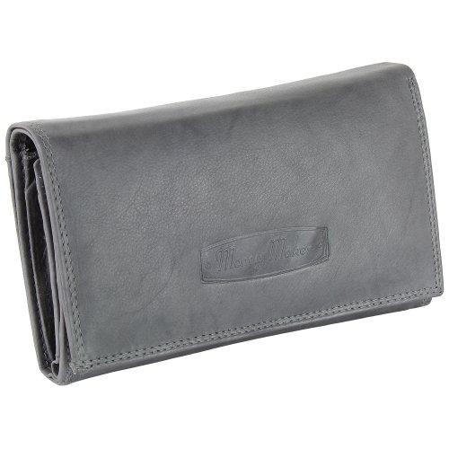Ledershop24 Damen Leder Geldbörse Damen Portemonnaie Damen Geldbeutel - Lang Grau Leder - Geschenkset + exklusiven Schlüsselanhänger