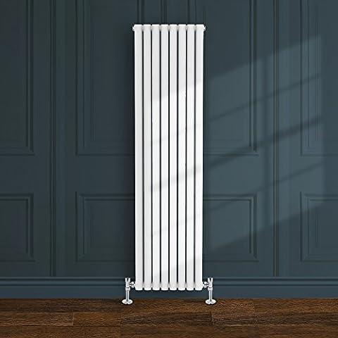Simple Home| Radiateur design Borvo à double panneau ovale horizontal 1800 x 472 mm Blanc brillant