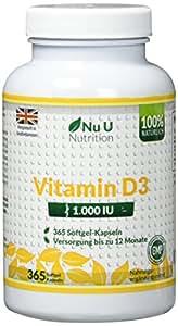 Vitamin D3 1000 IU hochdosiert - für Knochen, Zähne & Immunsystem - Jahresversorgung - 100 % Geld-zurück-Garantie - 365 Softgel-Kapseln - Nahrungsergänzungsmittel von Nu U Nutrition