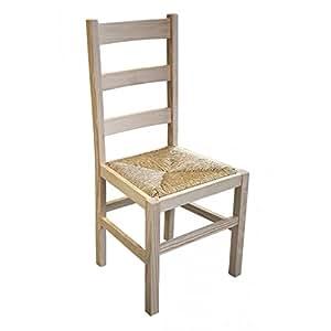Lot de 2 chaises pin massif brut Assise paille (H:96 cm x L:45 cm x P:41 cm)