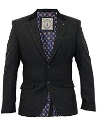 2dfce42f18e5 Herren Wollmischung Fischgrätenmuster Tweed Kariert Schmale Passform  Blazerjacke By Cavani