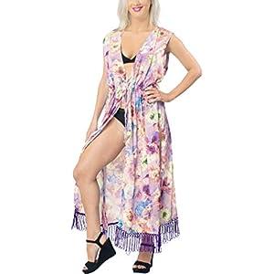 LA LEELA Seta Kimono Cardigan Lungo Donna Estivo Pizzo Boho Copricostume Abito da Mare Spiaggia per Costumi da Bagno Cape Bikini Cover Up 16 spesavip