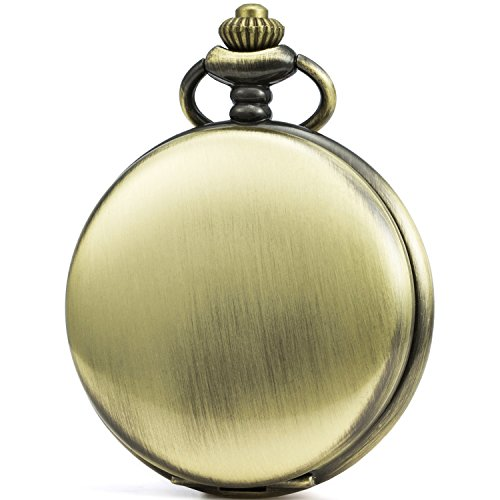 SEWOR Classic Smooth Face Mechanical Hand Wind Pocket Watch + Best Leather Gift Box (Gold)