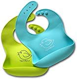 Comfortable Soft Baby Bibs Keep Stains Off! Waterproof Silicone Bib Easily Wipes Clean! Spend Less Time Cleaning after Meals with Babies or Toddlers! Set of 2 Colours (Lime Green / Turquoise)