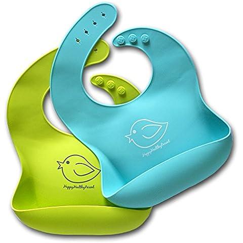 ¡Babero impermeable de silicona que se limpia fácilmente! ¡Cómodos baberos flexible que evitan las manchas! ¡Pasa menos tiempo limpiando después de las comidas con bebés o niños pequeños! Par de 2