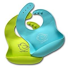 Idea Regalo - Bavaglino in silicone impermeabile facile da pulire! Morbido comodo bavaglini per neonato che si mantiene pulito! Passa meno tempo a pulire dopo aver dato da mangiare a neonati o bambini piccoli! Set di 2 colori (verde / turchese)