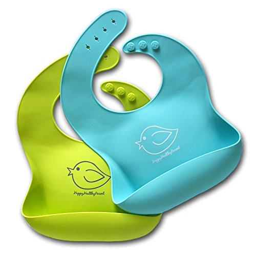 ¡Babero impermeable de silicona que se limpia fácilmente! ¡Cómodos baberos flexible que evitan las manchas! ¡Pasa menos tiempo limpiando después de las comidas con bebés o niños pequeños! Par de 2 colores (verde lima / turquesa)