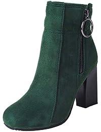 ea4a938c06e1bf AIYOUMEI Samt Ankle Boots High Heels Blockabsatz Stiefeletten mit  Reißverschluss Damen Kurzschaft Stiefel…