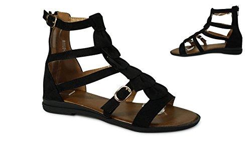Damen Sandalen Sandaletten Römer Riemchen Fesselriemen ST903 Schwarz