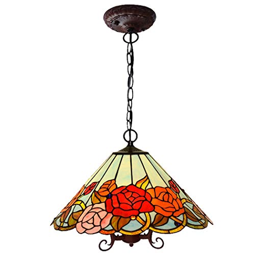YWYU Rosa Pendente Europeo in Stile Tiffany Stained Glass Luce Hanging Lamp Vintage Singolo Capo lampadario for Camera Hotel Cafe Restaurant plafoniera DENG20190924