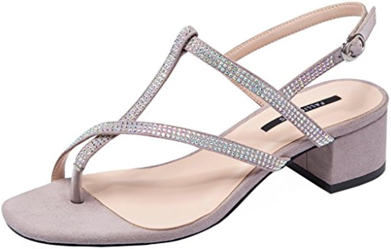 Sandalias de Diamantes de Imitación de un Botón con Hebilla de los Zapatos Abiertos Sandalias de Tacón áspero...