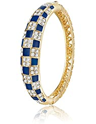 "City Ouna® ""brillantes cuadrados""oro plateado brazalete claro austríaco Swarovski elementos cristales damas azul pulsera moda joyería"