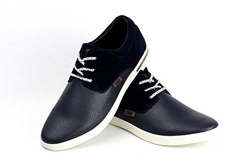 Jas Moda Masculina, Estilo Casual En Piel Con Cordones Bajos Zapatillas De Manejo Italiana Moda Blu