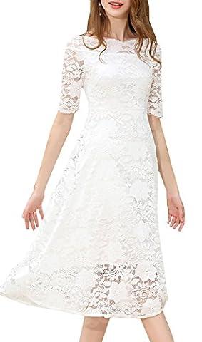 Tribear Damen Kurzarm Sommerkleid Spitze Elegant Abendkleid Partykleid Maxi Kleid (M/36, Weiß)