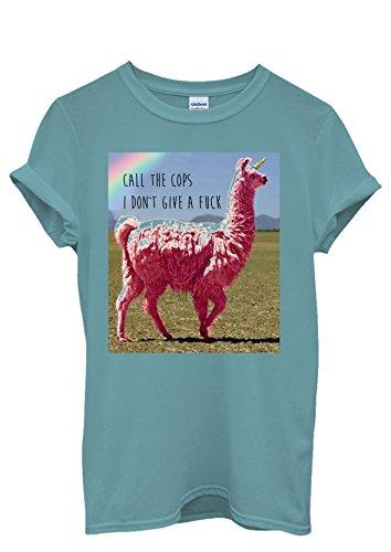 Llama Lama Unicorn Rainbow Call The Cops Men Women Damen Herren Unisex Top T Shirt Licht Blau