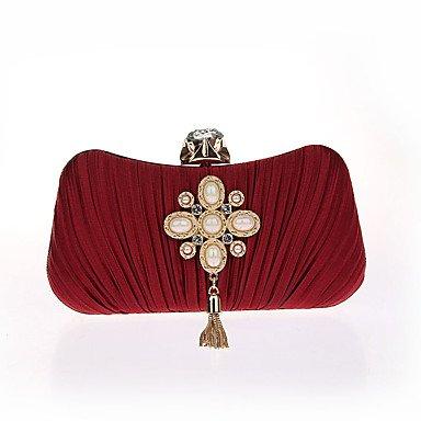 pwne L. In West Frau'S Modische Pearl Rüschen Kleid Mit Fransen Tasche Red