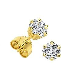 Juwelier Gelber Diamant Ohrstecker Lupenrein 0,50 ct 585 14 Kt Blüten Fassung Brillant Schliff Weißgold