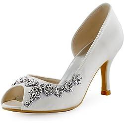 ElegantPark HP1542 Donna Partito Pompe Peep Toe D'orsay Strasss Tacco A Spillo Satin Scarpe Da Sposa Avorio 38