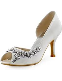 ElegantPark EL-005 Women Satin D'Orsay Peep Toe Wedding Bridal Court Shoes