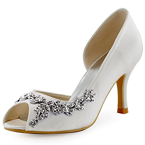 ElegantPark HP1542 Women High Heels Pumps Satin D'Orsay Peep Toe Crystals Wedding Bridal Court Shoes Ivory UK