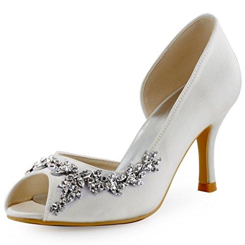 Elegantpark hp1542 donna partito pompe peep toe d'orsay strasss tacco a spillo satin scarpe da sposa avorio 39