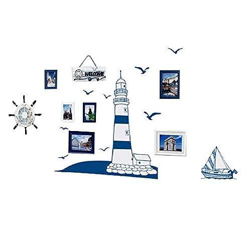 Pingxia Blau Leuchtturm Wandtattoo Möwen Segelboote Wandaufkleber Abnehmbare Wandsticker für Kinderzimmer Schlafzimmer