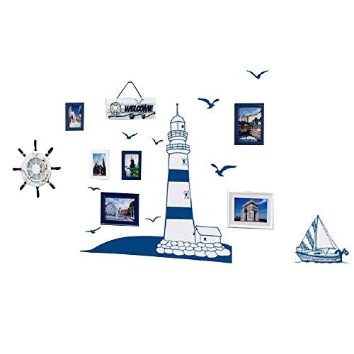 urm Wandtattoo Möwen Segelboote Wandaufkleber Abnehmbare Wandsticker für Kinderzimmer Schlafzimmer Wohnzimmer (Rezepte Für Baby-dusche)