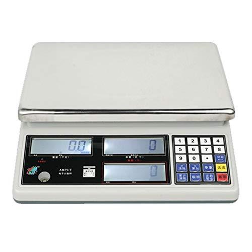 WWL 30kg/0.1g Bilancia Contapezzi Professionale Industriale Bilancia di Precisione Bilancia Digitale Elettronica laboratorio Schermo LCD Retroilluminazione (Color : White, Size : 20kg/0.1g)