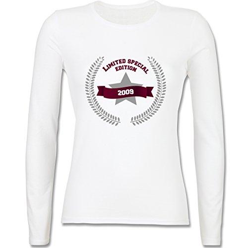 Geburtstag 2009 Limited Special Edition tailliertes Longsleeve /  langärmeliges TShirt für Damen Weiß