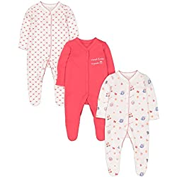 Mothercare Baby Girls 3 Pack Tea Party Sleepsuits, Multicolour (Lights Multi), Newborn (Size: 50)