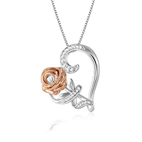 Snzm oro rosa e rose ciondolo a forma di collana cristalli swarovski placcato oro 18 k diamante taglio collana con ciondolo a forma di cuore anniversario di matrimonio, san valentino (white gold)