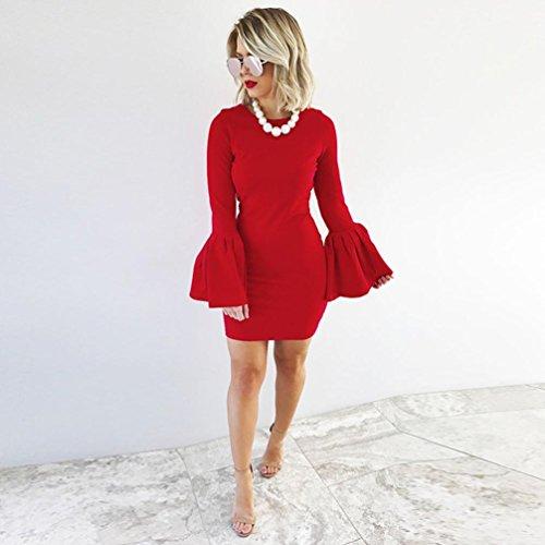 Rcool Mini abito da sera da donna con maniche a sbuffo sexy da donna Rosso