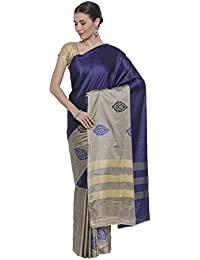 CLASSICATE From the house of The Chennai Silks Women's Cotton Blend Saree with Blouse Piece (CCMYSC7128, Navy Blue, Free Size)