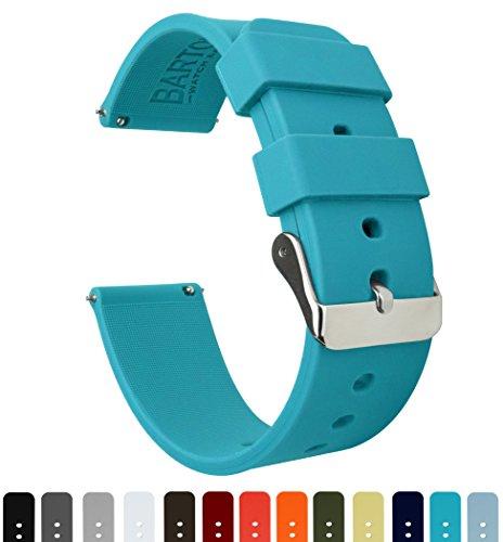 Barton Watch Bands Silikon Schnellverschluß.- Wählen Sie Farbe & Breite (16mm, 18mm, 20mm or 22mm) aquamarinblau 20mm Uhren Armband