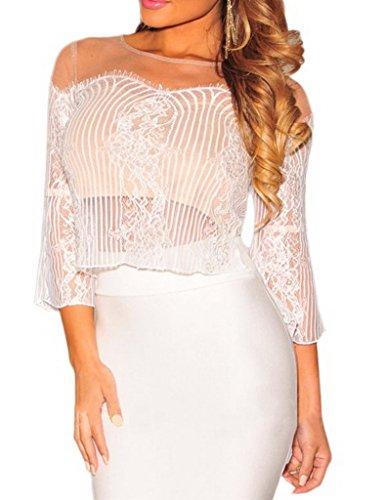 Bigood Combinaison Femme Tops Transparent Jupe Enveloppante Cocktail Clubwear Blanc