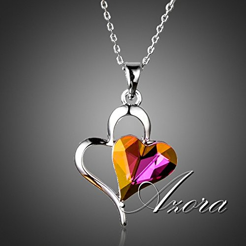 Collana con cuore in vetro cristalli lilla argento cristallo austriaco
