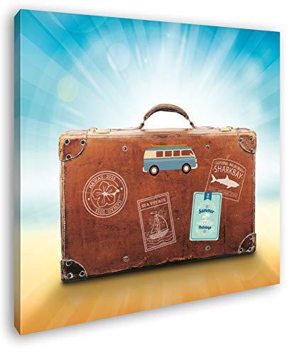 deyoli Reisekoffer aus Leder Format: 40x40 als Leinwandbild, Motiv fertig gerahmt auf Echtholzrahmen, Hochwertiger Digitaldruck mit Rahmen, Kein Poster oder Plakat
