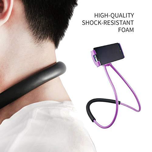 Dailyinshop Diseño práctico Colgador de Cuello Soporte para teléfono móvil Soportes Soporte de Cama Giratorio Universal Flexible de 360   Grados para teléfonos Inteligentes (Color: púrpura)