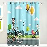 VORMOR Set 2 Tende per Tende oscuranti,Uomo sulla Bicicletta Bambino della Giovane Donna,Tenda Oscurante termoisolante per Soggiorno,66x54 Pollici