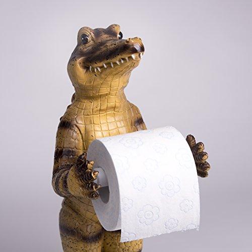 Unbekannt Toilettenpapierhalter Funny Krok Dekofigur Krokodil Alligator WC Rollen Halter Krokodil Alligator