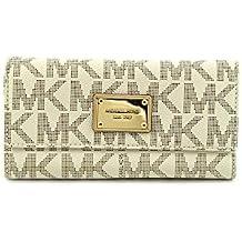Michael Kors MK Logo PVC Checkbook Wallet Vanilla