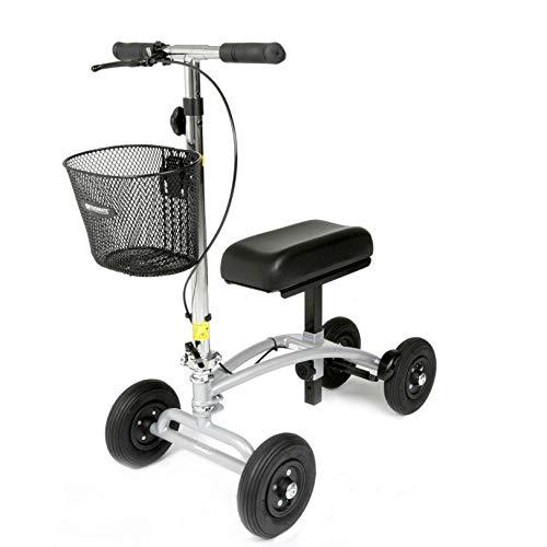 Dieser einzigartige  Knie-Scooter von Orthomate mit Korb ist ideal für den Innengebrauch und ermöglicht Ihnen dank der Luftreifen eine reibungslose Fahrt auch auf unebenem Gelände.