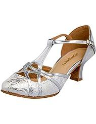 Oasap Femme Sandales Talons Haut Ajouré Chaussure de Danse Latine, Argent EURO39/US8/UK6
