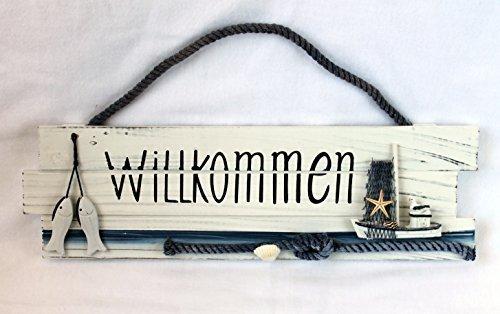 Willkommen Türschild Holz 40cm Breite Serie Seaside ()