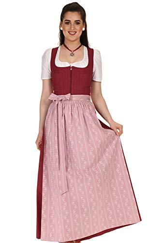 Königssee Tracht Damen Dirndl lang traditionell Baumwolle mit Kurbelstickerei D911063Ri Regina rot Gr.46