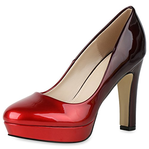 SCARPE VITA Damen Pumps Plateau High Heels Lack Metallic Party Schuhe 165622 Rot Dunkelrot 36