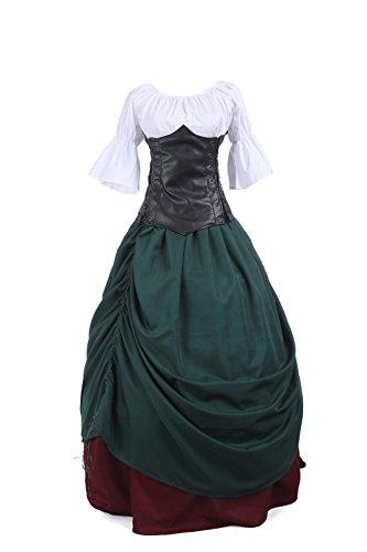 Nuoqi Damen Mittelalterliches Kleid Vintage Retro Maskerade Cosplay Kostüm Maxi Kleider TOP + ROCK + GÜRTEL Komplettset (Medium, GC219A-NI)